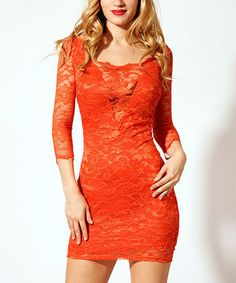 Love this Orange Kaithleen Lace Dress by Kimikal on #zulily! #zulilyfinds