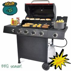 NEW Backyard 4 Burner Stainless Steel Outdoor Propane Gas Grill BBQ Silver