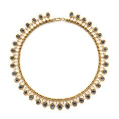 A delicate and feminine gold, pearl and sapphire fringe necklace by Castellani. Rome, c1875.