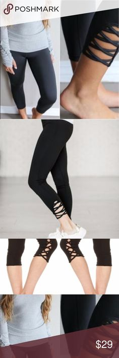 X CRISS CROSS SUPER STRETCH PEACH-SKIN LEGGINGS SUPER COMFORTABLE CRISSCROSS LEGGINGS IN BLACK ARE SUPER STRETCHY AND HAVE A HIGH WAIST SO THEY DON'T CONTINUOUSLY SLIP DOWN WHEN YOU SIT DOWN OR EXERCISE. STYLISH AND COMFORTABLE THESE LEGGINGS ARE ONE SIZE FITS MOST UP TO A SIZE 10 COMFORTABLY.  MATERIALS: POLYESTER & SPANDEX WILA Pants Leggings