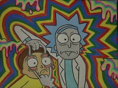 Trippy Rick and Morty canvas painting Easy Canvas Art, Cute Canvas Paintings, Small Canvas Art, Mini Canvas Art, Acrylic Painting Canvas, Hippie Painting, Trippy Painting, Cartoon Painting, Psychedelic Drawings