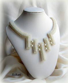 Beaded pearl & seed bead Right Angle Weave necklace, OOAK, wedding jewelry, bridal necklace. $140.00, via Etsy.