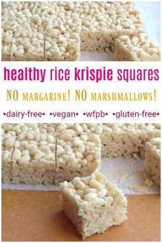 recipes healthy Healthy Vegan Rice Krispie Treats These RICE KRISPIE SQUARES are JUST as delicious as the original krispie treats, but made much healthier! NO dairy and also NO margarine! Dairy-free, VEGAN, gluten-free, and also nut-free! Vegan Rice Krispie Treats, Vegan Treats, Healthy Vegan Desserts, Healthy Treats, Sin Gluten, Vegan Gluten Free, Dairy Free Gluten Free Desserts, Low Carb Cookies, Whole Food Recipes