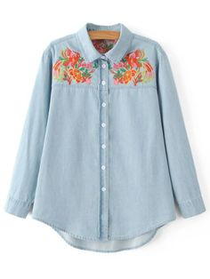 AD : Embroidered Yoke Denim Shirt - LIGHT BLUE   Style: Casual   Material: Cotton,Polyester   Material Type: Denim   Shirt Length: Long   Sleeves Length: Full   Collar: Shirt Collar   Pattern Type: Floral   Season: Fall,Spring   Weight: 0.320kg   Package: 1 x Shirt