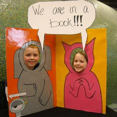 Cute cut-outs turn kids into Elephant and Piggie (would be fun for book fair!)