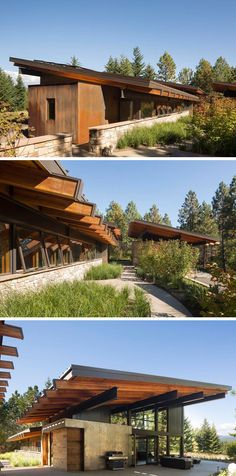 This rustic modern cabin has a landscaped path that wraps around the house and eventually leads you to covered, outdoor entertaining area.