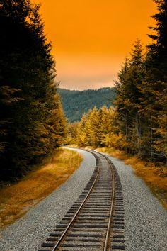 Sunset Rail, Washington, USA