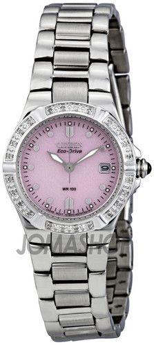 Citizen Eco Drive Riva Pink Dial Diamond Bezel Ladies Watch