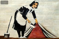 HOMAGE TO BANKSY - SWEEPING UNDER WALL 48X72   OIL PAINTING HAND PAINTED