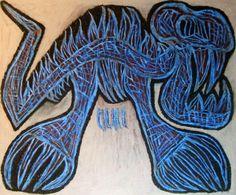 """Scheletro di smilodonte"" 2015 Tecnica mista su cartoncino 48x58 © Pietro Gargano"