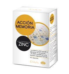 ACCIÓN MEMORIA Complemento alimenticio a base de ginkgo biloba, vitaminas y minerales. Las VITAMINAS C, B12 y B6 ayudan a disminuir el cansancio y la fatiga y contribuyen a la función psicológica normal. El ZINC contribuye a la función cognitiva normal. Vitaminas: C, E, B6 y B12. Minerales: Zinc, Selenio, Cromo y Magnesio. 40 cápsulas.