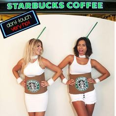 Carnival Costumes 2018 - See 20 CREATIVE Costume ideas to enjoy the carnival! You can make your costume at home, CHEAP costumes, check out the tips and good carnival. Mother Daughter Halloween Costumes, Easy Couple Halloween Costumes, Halloween Diy, Creative Costumes, Diy Costumes, Costume Ideas, Starbucks Costume, Fantasias Halloween, Girls Time