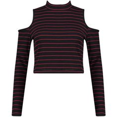 Boohoo Melanie Stripe Cold Shoulder Rib L/S Top (65 BRL) ❤ liked on Polyvore featuring tops, basic white t shirt, cropped tops, high neck top, striped crop top and ribbed crop top