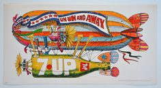 "1970 UnCola ""Un Un And Away"" vintage (blimp) poster by Bob Taylor Vintage Advertisements, Vintage Ads, Vintage Posters, Vintage Cookbooks, Psychedelic Art, Creative Director, Color Splash, Moose Art, Artsy"