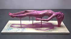 ''Mortality is a myth'' by Ted Lawson, NY, New York, 2012.  Sculpture of a dead naked women