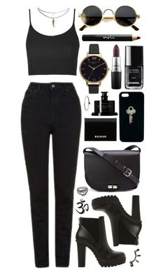 """""""Untitled #531"""" by clary94 ❤ liked on Polyvore featuring Topshop, Steve Madden, ASOS, A.P.C., The Giving Keys, Noir Cosmetics, MAC Cosmetics, Olivia Burton, Balmain and Byredo"""
