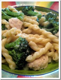 Skinny Chicken and Broccoli Pasta. For a cheesy cream sauce this recipe definitely qualifies as easy. And for a skinny recipe it definitely qualifies as delicious!! Will make again.