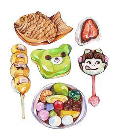 Taiyaki, Mitarashi-dango, Matcha donut, Ichigo daifuku, Peko lollipop & Anmitsu — by Laura Manfre