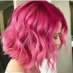 50 Colorful Pink Hairstyles To Inspire Your Next Dye Job - Colorful Hair Medium Styles Bright Pink Hair, Hot Pink Hair, Magenta Hair, Hair Color Pink, Pink Hair Dye, Blorange Hair, Dye My Hair, New Hair, Coloured Hair