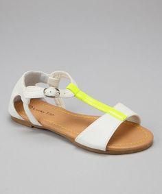 White & Yellow T-Strap Sandal by Lucky Top on #zulily today!