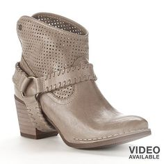 Bussola Style Kyra Perforated Leather Western Ankle Booties - Women