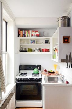 This Small Brooklyn Apartment Feels Comfortable, Not Cramped #refinery29  http://www.refinery29.com/homepolish-writers-brooklyn-retreat#slide-15  If a small kitchen is this well-organized, it feels comfortable instead of cramped. I have space for everything I need, and that's all that matters.