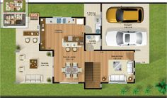Three Bedroom House with Gourmet Balcony - Code 98 Building Plan Drawing, Dorm Cleaning, Asian House, 2 Storey House, Three Bedroom House, Archi Design, Architecture Plan, Autocad, Home Deco