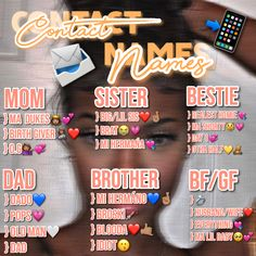 Noms Snapchat, Cute Snapchat Names, Nicknames For Friends, Boyfriend Nicknames, Teen Life Hacks, Useful Life Hacks, Funny Contact Names, Group Names Ideas, Cute Names For Boyfriend