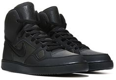 Your weekend style will be amped up with the Nike Son of Force Mid sneakers. Leather and nubuck upper in an athletic mid-top basketball shoe style Lace-up front, padded tongue and collar Perforation panels for eathability Mesh lining with a cushioning insole Rubber traction outsole