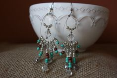 Turquoise wood silver and clear beaded by AddSomeCharmBoutique, $14.95