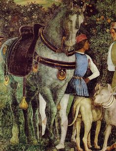 Detail of the frescoes by Andrea Mantegna in the Camera degli Sposi in the Palazzo Ducale.