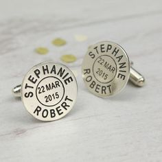 Personalised Silver Postmark Name Cufflinks