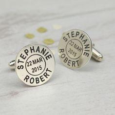Personalised Silver Postmark Name Cufflinks