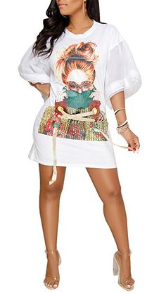 Speedle Womens Casual Short Puff Sleeve Digital Graffiti Print Loose Tunic T-Shirt Mini Dress White L Casual T Shirt Dress, Mini Shirt Dress, Cut Shirt Designs, Ladies Day Dresses, Casual Outfits, Cute Outfits, Club Party Dresses, Latest African Fashion Dresses, White Mini Dress
