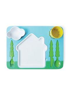 Verras je kinderen met deze geweldige eetpuzel. Met de Landschap Eetset van Doiy eten de kids spelenderwijs hun bordje l