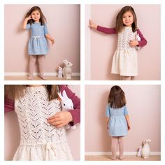 Strikkeoppskrift på PDF. Festlig kjole med paljetter og strukturstrikket overdel. Kan strikkes med og uten ermer. Størrelser: 1 (2) 3-4 (5) 6-7 år Garn: Fin o
