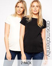 ASOS Maternity Crew Neck T-Shirt With Capped Sleeve 2 Pack SAVE 14%