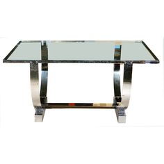 Donald DESKEY console table with glass top over polished chrome base, 1930s (hva)