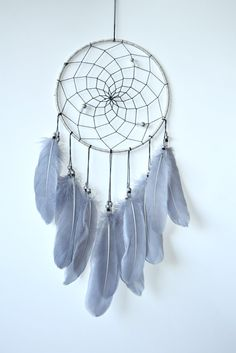 Grey Nursery Bohemian Wall Decor Silver by FeatherDreamcatchers