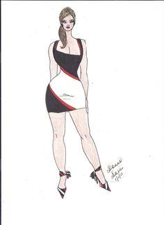 Black/White and Red Asymmetric Stripe BodyCon Dress