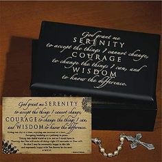 "Serenity Prayer Keepsake Box by Abby Press. $16.71. Decorated with black finish and engraved Serenity Prayer. Comes with matching 5 1/2"" by 3 1/2"" gift card. Size: 6"" by 4 3/8"" by 2"". Perfect inspirational gift!. Perfect for jewelry box or other storage. Wood box features a contemporary black finish, engraved lid and a soft, protective lining. Comes With a matching 5 1/2"" x 3 1/2"" gift card. Serenity Box, 6"" x 4 3/8"" x 2""."