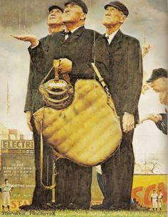 Bottom of the Sixth (Three Umpires), April norman rockwell paintings Norman Rockwell Prints, Norman Rockwell Paintings, Peintures Norman Rockwell, Baseball Art, Sports Art, Beautiful Artwork, American Artists, Art Museum, Amazing Art