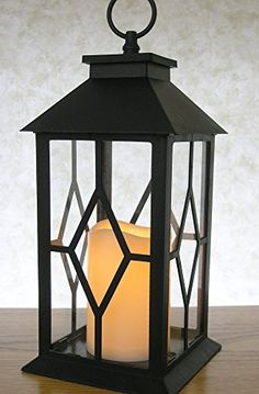 Decorative Black Lantern  IndoorOutdoor Lantern with a Flameless LED Pillar Candle and 5 Hour Timer  Outdoor Lighting  13H * Check out the image by visiting the link.Note:It is affiliate link to Amazon. #l4l