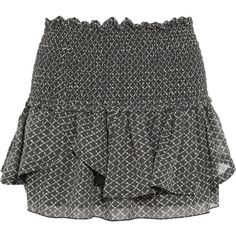 Isabel Marant Aura printed silk-chiffon mini skirt ($274) ❤ liked on Polyvore featuring skirts, mini skirts, bottoms, isabel marant, nederdel, black, smocked waist skirt, mini skirt, short mini skirts and elastic skirt