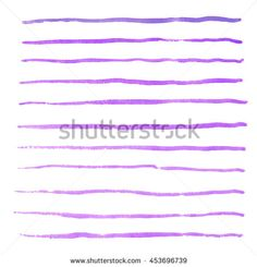 Watercolor purple stripes strokes hand drawn vector brushes kit