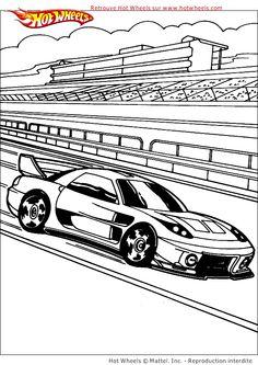 Une voiture de course en plein action à colorier