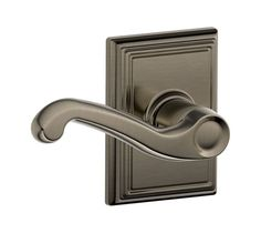 Schlage F10-FLA-ADD Passage Flair Door Leverset with the Decorative Addison Rose Antique Pewter Leverset Passage