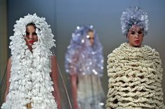 Take us to your leader? Models present knitted cocoons by Hungarian designers Zita Csabai and Zsofia Farkas during a fashion contest at the Museum of Fine Arts in Budapest on May 8, 2011.