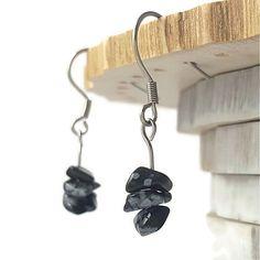 Handmade earrings obsidian genuine obsidian by DSNatureetCreation https://www.etsy.com/listing/214494044/handmade-earrings-obsidian-genuine