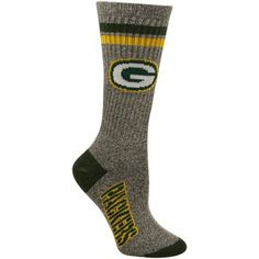 Green Bay Packers Women's Marbled Two Stripe Crew Socks - Charcoal #UltimateTailgate #Fanatics